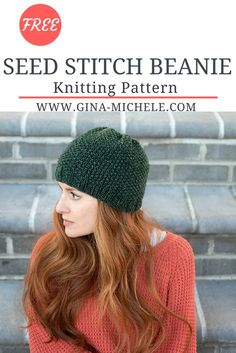 Free pattern for this Seed Stitch Beanie Vogue Knitting, Loom Knitting, Knitting Socks, Knitted Hats, Crochet Hats, Crochet Granny, Knit Crochet, Beanie Knitting Patterns Free, Knit Beanie Pattern