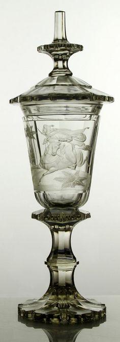 Biedermeier Pokal mit Pferd und Osmane, wohl August Böhm um 1840