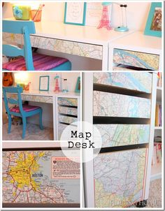Decoupaged Map Ikea Desk... a genius way to customize a desk!  www.findinghomeonline.com #desks  #mapdecor