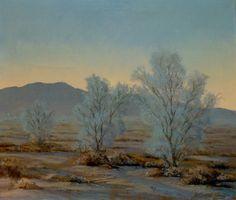 "The brilliant John W Hilton in his ""Smoke Trees at Twilight"" 24x28 Oil"