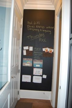 Family organization wall- great use of space. Maybe on the wall next to the pantry? Family Organization Wall, Family Organizer, Kitchen Organization, Organization Ideas, Organizing Tips, Family Command Center, Family Wall, Home Hacks, Getting Organized