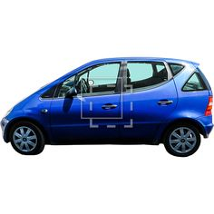 This is a cut-out tiny blue car for a small family. Elevation, side-view photo.