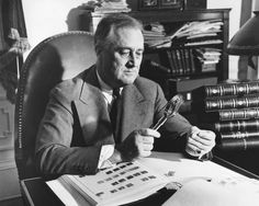 Learn the basics of stamp collecting, including rare stamps, values and proper stamp storage. Additionally, find places to buy and sell stamps online. American Illustration, Illustration Artists, American Presidents, American History, Franklin Roosevelt, Roosevelt Family, Stamp Collection Value, President Fdr, Roosevelt