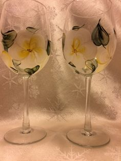 My Etsy shop is open again! Hand Painted Wine Glasses  Island Blossoms Golded by EverMyHart