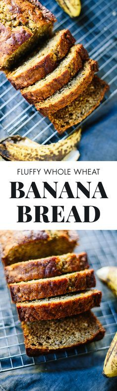 Healthy banana bread recipe—it's so fluffy, moist and delicious. Simply the best! cookieandkate.com