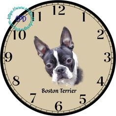 """Black & White Boston Terrier Drawing Art - -DIY Digital Collage - 12.5"""" DIA for 12"""" Clock Face Art - Crafts Projects by CocoPuffsDesigns on Etsy"""
