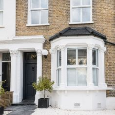 Design Check out this cool, calm and collected Victorian terrace in London How Cellulose Insulation Victorian Front Garden, Victorian Terrace Interior, Victorian Homes Exterior, Victorian Windows, Victorian Front Doors, Victorian Townhouse, Victorian Cottage, Victorian Terrace Hallway, Victorian House London