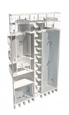Silos – Diving and Indoor Skydiving Center Proposal. Moko Architects Restoration of a factory in Żerań, Poland using existing cement storage silos for indoor skydiving and deep water diving up to Architecture Drawings, Architecture Plan, Architecture Details, Interior Architecture, Bartlett School Of Architecture, Installation Architecture, Contemporary Architecture, Modern Interior, Interior Design