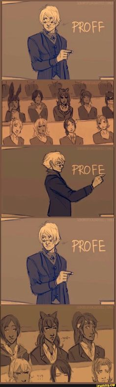 In case you dont understand it at first ozpin is trying to spell professor but dosent know how to so he's checking for blakes sign of approval whenever he's not sure