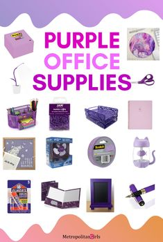 purple office and school supplies. mCute purple office and school supplies. Purple Desk, Purple Office, Purple Cow, Hobby Lobby, Feng Shui, Decoration Ikea, First Day Of School Activities, Office And School Supplies, School Ideas