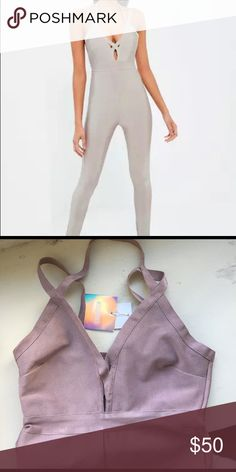 Bandage strappy harness jumpsuit Never worn. More of a purple gray (see photo) Pants Jumpsuits & Rompers