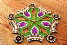 Hey, I found this really awesome Etsy listing at https://www.etsy.com/listing/237913983/green-purple-rangoli-kundan-rangoli