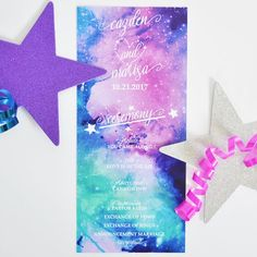 Your wedding ceremony will be out of this world with these galaxy programs. Programs pictured is digitally printed on crystal metallic 105# paper, but also available glossy card stock. Program design can be customized with any fonts, graphics or colors. ---INCLUDED--- * Program Wedding Programs, Wedding Ceremony, Air Cannon, Celestial Wedding, Program Design, Vows, Card Stock, Marriage, Crystals