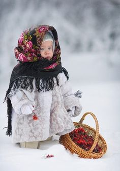 winter, child in babushka, snow