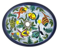 """A painted sink looks really pretty in a bathroom. The oval mexican sink pattern """"Abasolo"""" is offered in three sizes. Rustic Bathroom Sinks, Small Bathroom, Bathroom Ideas, Downstairs Bathroom, Bathroom Storage, Relaxing Bathroom, Talavera Pottery, Small Sink"""