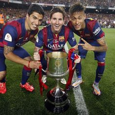 Leo Messi, Neymar Jr and Luis Suárez