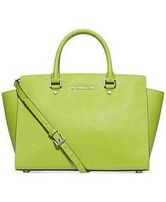 199bc1d57b27 Michael Kors Selma LARGE Top Zip Satchel PEAR silver chain: Handbags:  Amazon.com