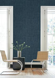 Raffia Wallpaper in Navy from the Caspia Collection by Wallquest