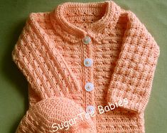 Crochet Pattern Baby Girl or Boy Sweater Jacket and Hat PDF Pattern 24 months One Piece!