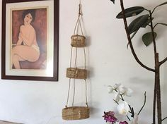 Big size hanging kitchen basket macrame. Mexican art folk.