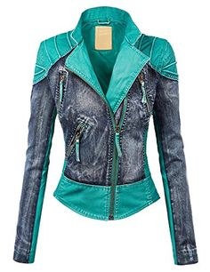LL WJC1016 Womens Faux Leather Denim Motorcycle Jacket S TURQUOISE