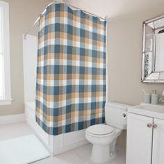 Cute Beige Blue Retro Chic Plaid Tartan Pattern Shower Curtain - shower gifts diy customize creative