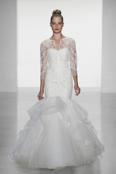 Carson: French lace fit to flare with tulle skirt gown and French lace long sleeve bolero-Amsale