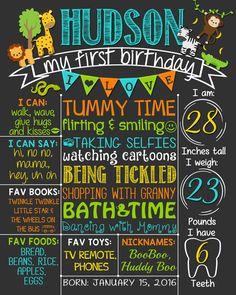 Safari First Birthday Chalkboard Poster Boy by LetsChalkMemories