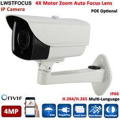 H.265/H.264 4.0 Megapixel 4MP IP Camera Outdoor HD Network POE Port 4X Zoom Auto Iris Motorized Lens IR 60m IP Cam FREEIP Pro