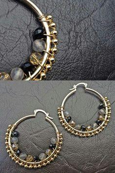 Aretes Diy Gemstone Earrings, Diy Necklace, Bead Earrings, Bridal Earrings, Wire Jewelry, Antique Jewelry, Beaded Jewelry, Jewelery, Handmade Jewelry