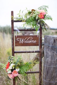 Simple Winter Wedding Shoot by Sunshine & Confetti + Life in Bloom Photography, welcome sign, ladder, calligraphy sign, ferns, wedding florals