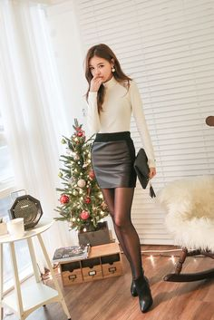 Warm Knit Leather Skirt