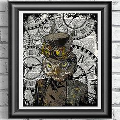 #Steampunk owl art #print on original book page dandy bird #vintage dictionary,  View more on the LINK: 	http://www.zeppy.io/product/gb/2/351523058951/