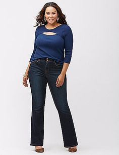 Bootcut jean with T3 Tighter Tummy Technology provides a sexy, slimming fit in a dark rinse for anywhere styling! Be wowed by the power of T3, featuring a built-in control panel that firms and flattens your tummy. Built-in elastic waistband and higher rise provides a comfortable fit that eliminates that annoying gap in back. Five-pocket design with double button waistband, zip fly and double belt loops. Available in Petite and Tall sizes, too. lanebryant.com
