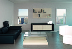 MOVIMENT-0 Line, Model 55 and MOVIMENT-0 Line, Model 77. The 55 #console is made up of #metallic doors and a #wooden body that appears to be suspended above the #wooden structure. The 77 #coffeetable has two sliding #shelves that allow different support solutions. Ronda Design.
