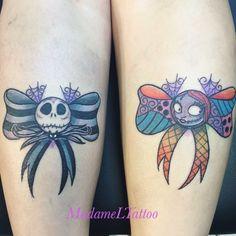 Jack and Sally bows tattoo tattoo tattoo calf tattoo ideas tattoo men calves tattoo thigh leg tattoo for men on leg leg tattoo Ribbon Tattoos, Bff Tattoos, Girly Tattoos, Friend Tattoos, Cute Tattoos, Body Art Tattoos, Sleeve Tattoos, Matching Disney Tattoos, Disney Couple Tattoos