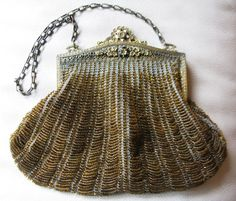 Antique Blue Crochet Knit Gold T Enamel Floral Filigree Amber Yellow Bead Purse #EveningBag
