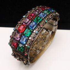 Multi-Color Open-Back Stones Hinged Bangle Bracelet