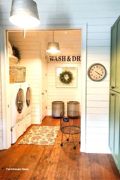 Farmhouse laundry room ideas – small basement laundry room and more Basement Ideas! Gorgeous DIY finished basement ideas on a budget – partially finished basement ideas and small basement decor ideas for finishing and decorating a basement on a budget Small Basement Decor, Diy Finish Basement, Basement Ideas, Basement Laundry, Basement Decorating, Laundry Closet, Basement Bathroom, Country Farmhouse Decor, Farmhouse Design