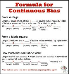 Cheat Sheet Formula for calculating Continuous Bias