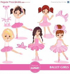 50% OFF SALE Ballerina girl, Cute Ballerina Clipart, Ballet Clipart for Digital Scrapbooks, Invitations, Commercial Use - CA101 by PremiumClipart on Etsy
