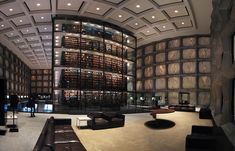 Yale University's Beinecke Rare Book and Manuscript Library.    Fun fact about that library:  If the fire alarm goes off, the library's central chamber fills with inert gas to create a non-combustible environment.That means if you don't get out quickly enough, you suffocate.The books inside of it are more valuable than human life.