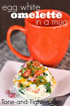 How to make an Egg White Omelette in a Mug from Tone-and-Tighten.com . . . ready from your microwave in a couple minutes! #breakfast #healthy #recipe