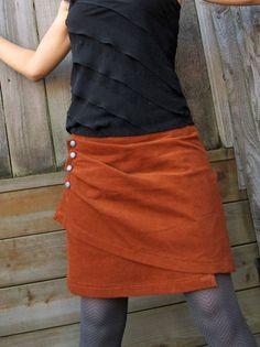 Burnt Orange Skirt, Women's Corduroy Wrap Skirt, The Salted Caramel. c'est la jupe portefeuille elle existe en long et en court Burnt Orange Skirt, Women's Corduroy Wrap Skirt, Diy Clothing, Sewing Clothes, Diy Jupe, Orange Skirt, Corduroy Skirt, Burnt Orange, Refashion, Dressmaking, Diy Fashion