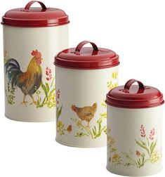 To store coffee beans, check out these red lid country coffee canisters featuring a beautiful garden rooster pattern with roosters and country flowers on its metal construction. If you prefer a blue version, there is one called country barnyard, also in a set of three canisters each featuring a different farm animal.
