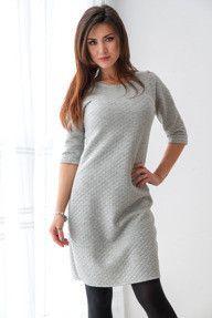 Szara, dopasowana pikowana sukienka