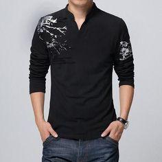 Korean Style V-Neck Cotton Tshirts For Men, V-Neck T-Shirts