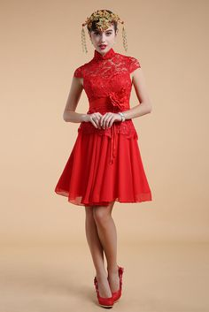 Dressesmall Chic Red A Line High Neck Flower Lace Knee Length Evening Dress - Dressesmallau.co