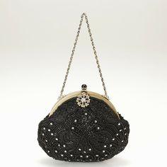 ビクトリアン刺繍パーティバッグ(ブラック)
