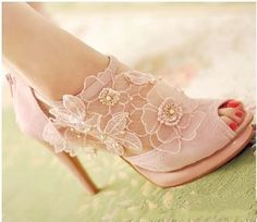 wedding shoes, love the flower details (maybe use on dress waist band - mixed with satin ribbon - or on reception bolero, veil edging, etc.)